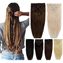 100% Real Remy Clip in Hair Extensions 16-22inch Grade AAAAA Natural Hair Full Head Standard Weft 8 Pieces 18 Clips Long Smooth Soft Silky Straight for Women Fashion