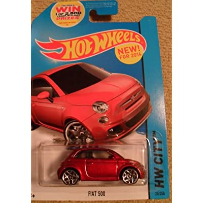 Hot Wheels 2014 HW City Fiat 500 25/250, Maroon: Toys & Games