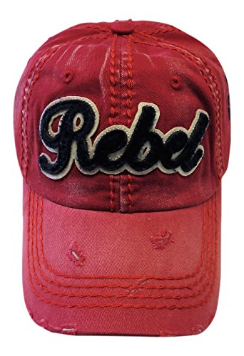 (Embroidered Rebel Patch on Vintage Red Baseball Cap Hat Fashion)