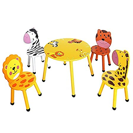 Sensational Home Hut Kids Wooden Table And Chairs Set Childrens Toddler Animal Jungle Themed Gift Interior Design Ideas Gentotryabchikinfo