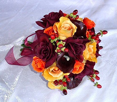 FALL / HARVEST Hand Tied Bridal Bouquet Calla Lilies Silk Wedding Flowers by Dorigan Artificial Art Flowers