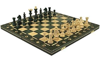 SENATOR GREEN HANDCRAFTED TOURNAMENT WOODEN CHESS Board 16 x 16- Chessmen Weighted by Wegiel