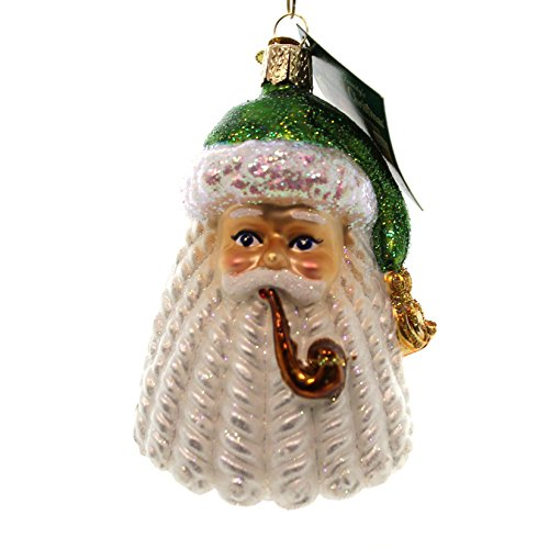 Old World Christmas RINGLET SANTA Glass St Nicholas Holiday Pipe 40273 GREEN (Santas Pipe)