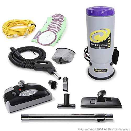 NEW Proteam Super QuarterVac Commercial Backpack Vacuum W. Head 6 qt Quarter Vac