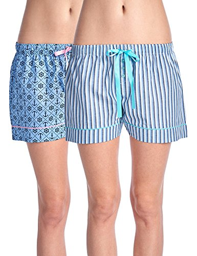 (Casual Nights Women's 2 Pack Cotton Woven Lounge Boxer Shorts - Stripe 35/ Anchors - Small)