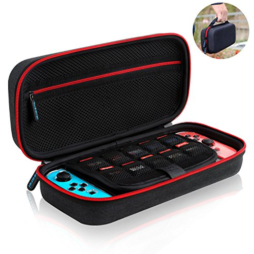 Nintendo Switch Carrying Case,Wearxi Hard Travel Storage Case Shell Pouch Box Bag Cover for Nintendo Switch Console and Accessories -Black Fabric Material For Sale