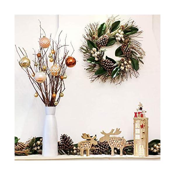 Valery Madelyn Palle di Natale 16 Pezzi 8cm Palline di Natale, Rame da Bosco e Oro Infrangibile Palla di Natale Ornamenti Decorazione per la Decorazione Dell'Albero di Natale 6 spesavip