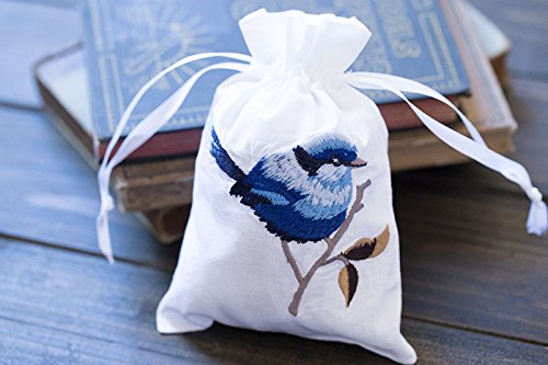 Vintage White Cotton Sachet Bags Drawstring Ribbons Embroidered Blue Birds Pouch 5