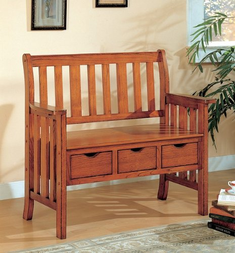 Country Oak Wood - SEI Three Drawer Mission Oak Country Bench