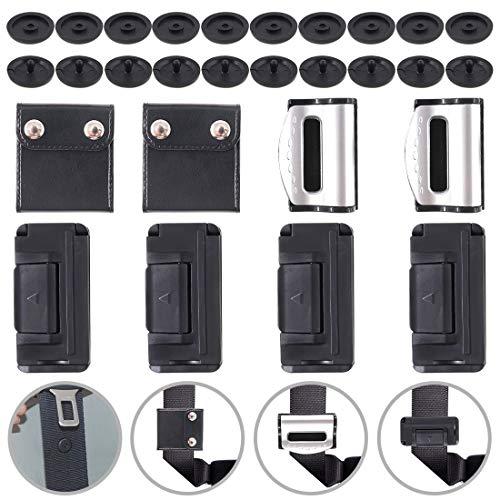 Glarks 18Pcs Seat Belt Adjuster Set, 1 Pair Positioner Locking Clip + 2 Pair Black Seatbelt Clip + 1 Pair Silver Seat Belt Adjuster + 10 Pair Seat Belt Stop Button for Universal Vehicle Car Seat Use ()