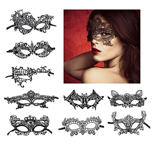 KissYan Sexy Lace Masquerade Mask For Women Halloween Mask, Set Of 9