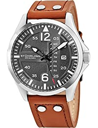 Mens Analog Stainless Steel Sport Aviator Watch, Quick-Set Day-Date, Brown Casual Leather Strap
