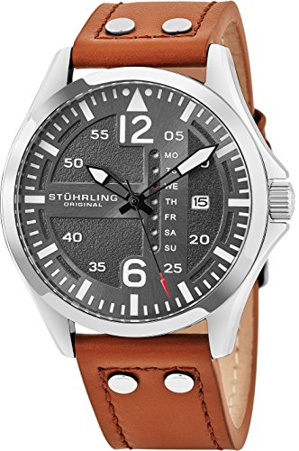 Mens Designer Watch (Stuhrling Original Mens Analog Stainless Steel Sport Aviator Watch, Quick-Set Day-Date, Brown Casual Leather Strap)