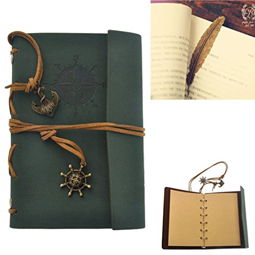 Vintage Leather Cover Journal Diary String Nautical (Black) - 9