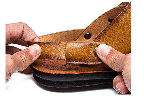 2017Summer nuevo sandalias de cuero aleatorio de hombres pistones la playa hombres transpirable zapatos de grandes dimensiones 1