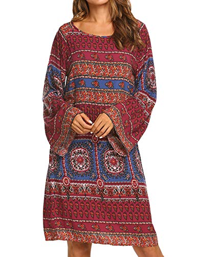 Hotouch Women Long Sleeve Casual Tunic Dress Floral Loose Swing T Shirt Dress Wine Red ()