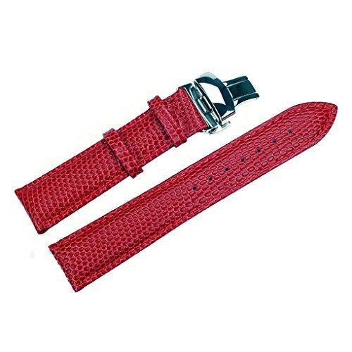 bff2bbd458b ACUNIONTM 20mm Cowhide Leather Watch Band Push Button Deployment Buckle Leather  Watch Strap Red