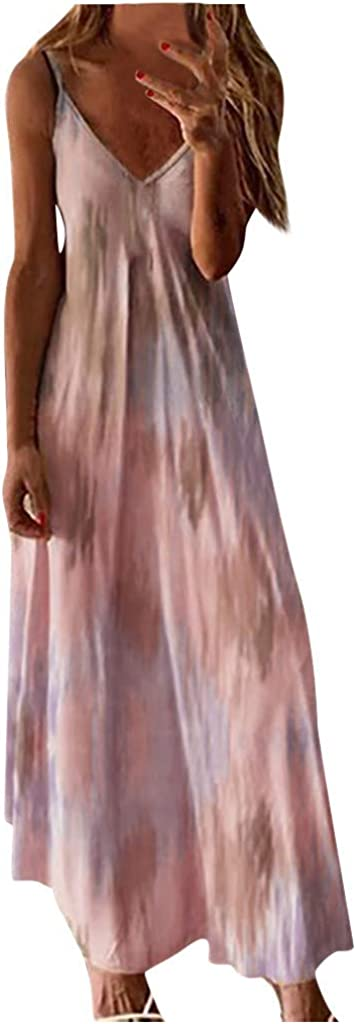 BALABA❥Women Plus Size V-Neck Tie Dye Ombre Dress Boho Spaghetti Strap Floral Tank Top Maxi Long Dress Beach Sundress