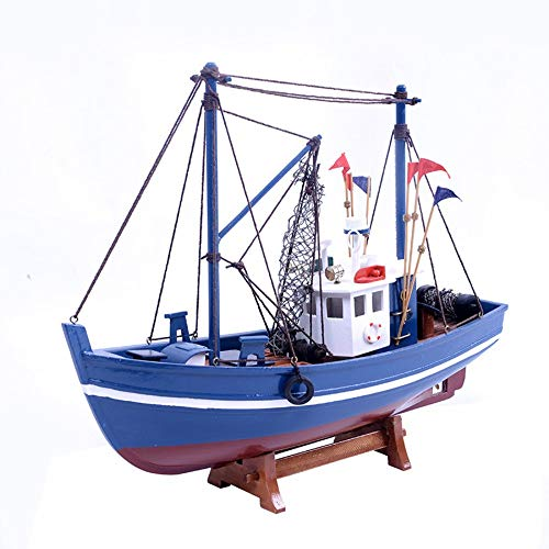 Ship Model,Fishing Boat Sailboat Model Simulation Creative Gifts Home Decoration Handmade Wooden Crafts Fashion Taste Simple Mediterranean Style Color Random - Mediterranean Pedestal