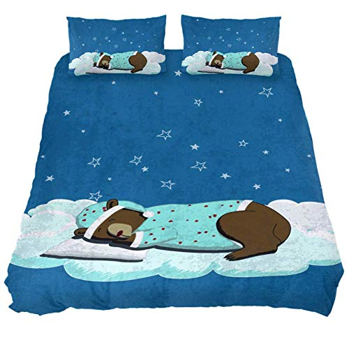 - CHAYUN Comforters Cover Cute Bear 3pcs Extra Long Twin Soft Bedding Sets Duvet Cover with Hidden Zipper Bedroom Comforters Quilt Coverlet