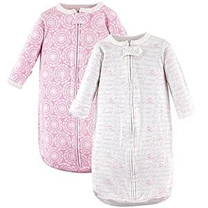 Hudson Baby Safe Sleep Long Sleeve Cotton Sleeping Bag, 2 Pack, Girl Script, 0-9 Months