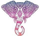 Purple Pink Ombre Henna Pattern Elephant Head Drawing Vinyl Decal Sticker (4' Wide)