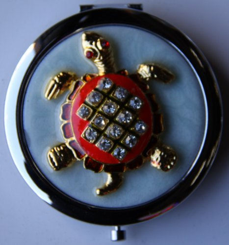 Purse Handbag Double Compact Cosmetic Mirror - Jeweled Turtle (Jeweled Compact Mirror)