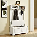 Home Entry Way Organizer Wooden Umbrella Coats Rack And Shoe Storage Cabinets (White)
