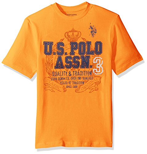 U.S. Polo Assn. Boys' Crew Neck Iconic Graphic Logo T-Shirt, Stanton Orange, ()