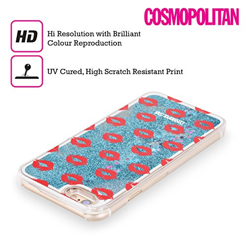 Official Cosmopolitan Red Kiss Mark Sky Blue Liquid Glitter Case Cover for Apple iPhone 6 / 6s
