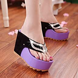 Sunbona Women\'s Summer Bohemia Fashion Rhinestones Anti-Slip Clip Toe High Platform Wedge Sandals Casua Flip Flops Loafers Beach Shoes (US:6.5(RU/EU/CN37), purple)