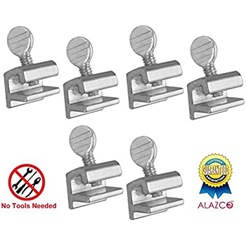 6pc Premium ALAZCO Home Security Sliding Window Lock - Tamper Resistant Extruded Aluminum - Thumbscrew No Tool Needed