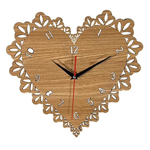 SCOFEEL MADE 14 Inch Silent Wooden Wall Clock Heart Shaped Wall Clock Wood Decorations Housewarming Clocks Non Ticking Clock for Office Living Room Bedroom Dining ()