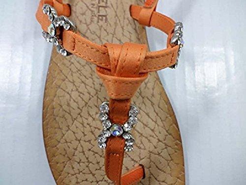 EDDY DANIELE 37 EU Sandalias Chanclas Mujer Naranja Satén / Cristales Swarovski AW29
