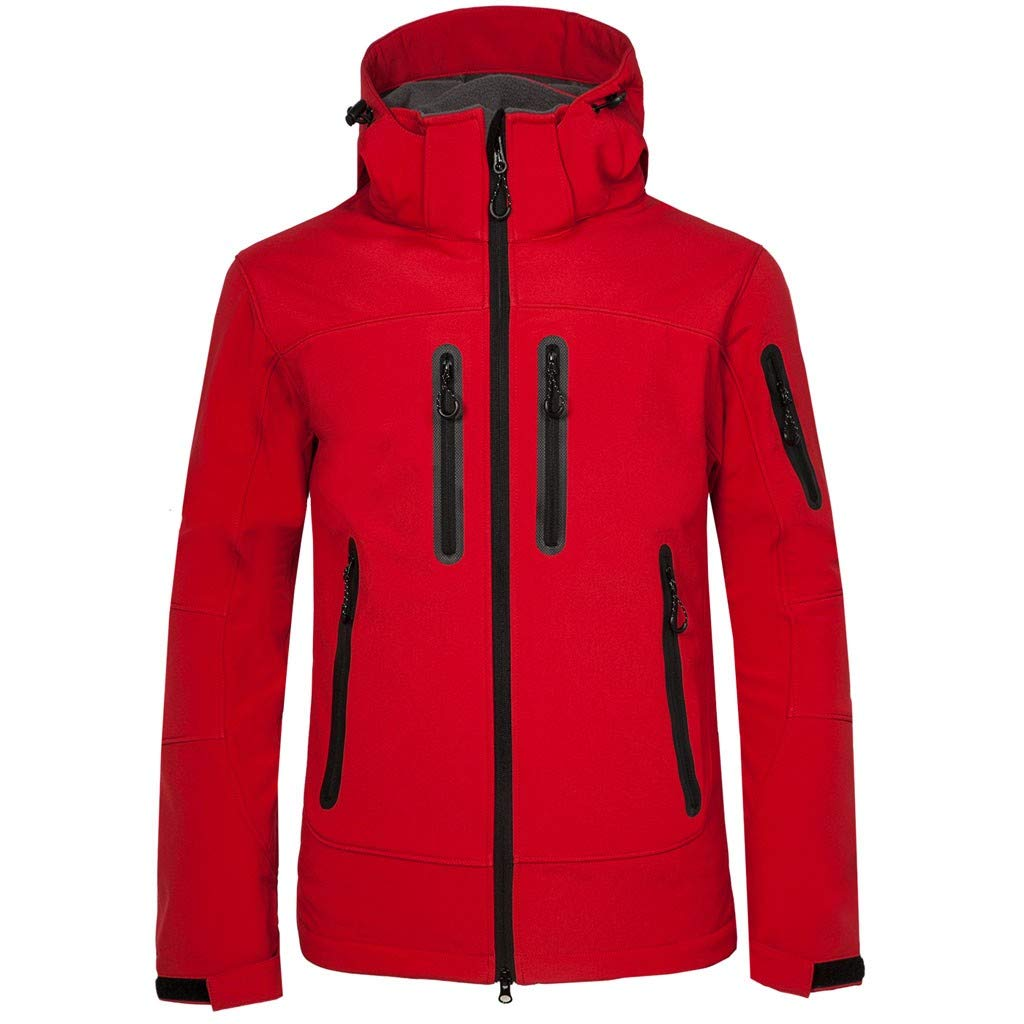 Seaintheson Mens Jacket Outerwear,Winter Warm High Collar Windbreaker Outdoor Casual Sports Long Coat Zipper with Pocket Red by Seaintheson_Men's Clothes