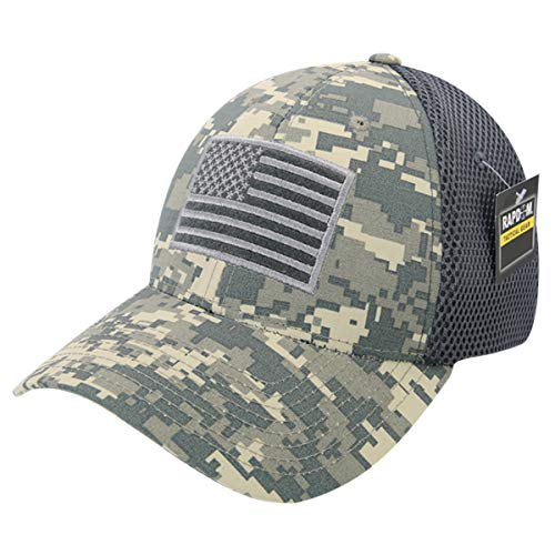 USA US American Flag Tactical Operator Mesh Flex Baseball Fit Hat Cap - ACU Camo