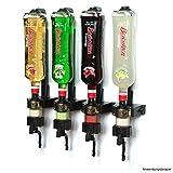 4 cl ENGOLIT Schnapsspender (Hygienischer Finger Push Dosierer) & Flaschenhalter 4er-Set inkl. Metall-Montageschiene für Wand-Befestigung, Spirituosen 0,7 - 1 Liter