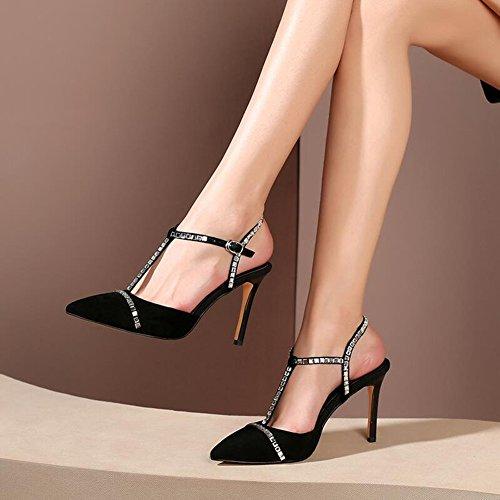 Negro Sandalias Tamaño Negro CN37 Rhinestone T Tacones Zapatos EU37 De Rosa TPR 5 5CM tacón Color YXINY 8 Temporada 5 Frosted de Sexy Pink Tipo Femenino Verano Hebilla UK4 qBtfpcUw