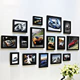Home@Wall photo frame Photo Frame Sets,Living Room Photo Frame Wall Creative Combination Sofa Background Frames Sets Of 15 ( Color : J , Size : 15frames/13575CM )