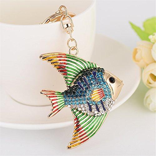 Tropical Fish Shape Rhinestone Automotive Key Chains Tassels keychain Or Women Bag Ornaments Pendant A birthday present Gift (Blue) (Tropical Fish Keychain)