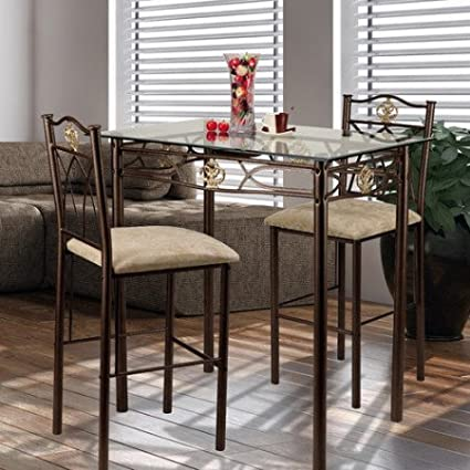CROWN BISTRO 588776 Crown 3 Piece Glass Top Counter Height Pub Table Set,  Include 1