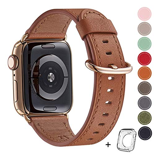 Compatible iWatch Band 38mm 40mm, Top Grain Leather Band Replacement Strap iWatch Series 4,Series 3,Series 2,Series 1,Sport, Edition (Brown Band+Gold Adapter, 38mm40mm)