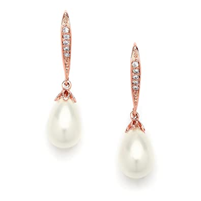 ea372796f Amazon.com: Mariell Vintage Rose Gold Glass Pearl Drop Bridal Wedding  Earrings with Art Deco Cubic Zirconia Accent: Jewelry