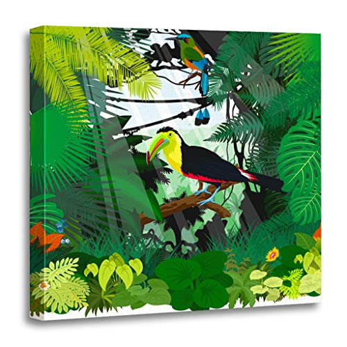 (Emvency Painting Canvas Print Wooden Frame Artwork Blue Animal Toucan and Turquoise Browed Motmot in Jungle Rainforest Indonesia Decorative 12x12 Inches Wall Art for Home Decor)