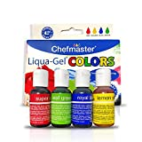 Chefmaster Liquid Gel Food Coloring, 4-Pack Food Coloring Liquid Gel for Decorating & Crafts, Liquid Gel Food Color in Red, Yellow, Blue & Green.70 oz Food Dye Gel For Icing, Buttercream & More