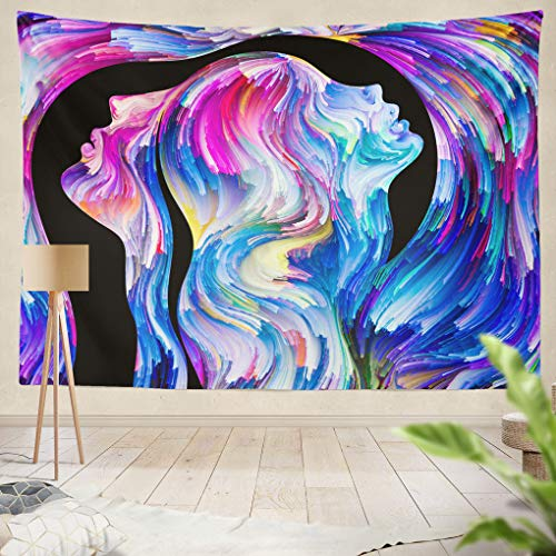 rs Series Abstract Profiles Swirls Paint Subject Emotion Passion Desire World Imagin Creativity Hanging Tapestries 60 x 80 inch Wall Hanging Decor for Bedroom Livingroom Dorm ()