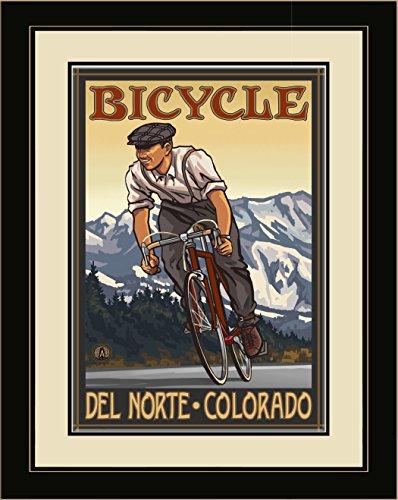 Northwest Art Mall PAL-3935 LFGDM DBM Del Norte Colorado Downhill Biker Mountains Framed Wall Art by Artist Paul A. Lanquist, 20 x - Del Mall Norte