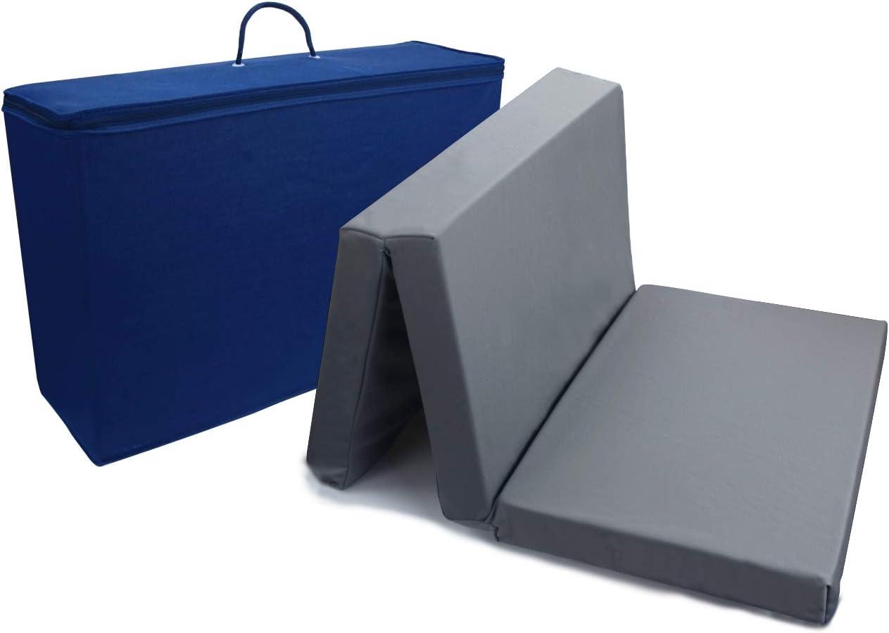 PEKITAS Colchón Cuna De Viaje Plegable 60x120 cm Grosor 6 cm - Funda de algodón lavable, transpirable, libre de toxicos,Color Gris,Fabricado En España
