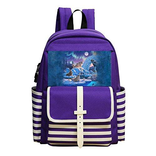 Mini School Daypack For Kindergarten Unisex Children,Print Marine Animal,Purple