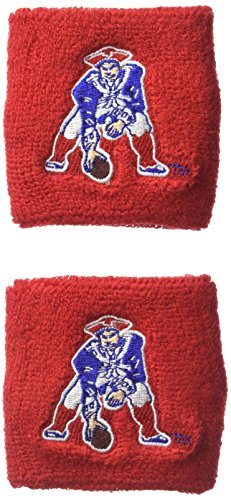 Pro Specialties Group NFL New England Patriots Wristbands, Red, One -
